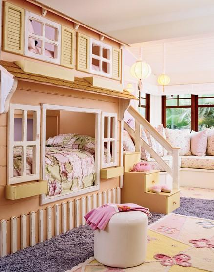 Es Gibt Platz Für Zwei Kinder Schlafen In Ihrem Eigenen Häuschen.