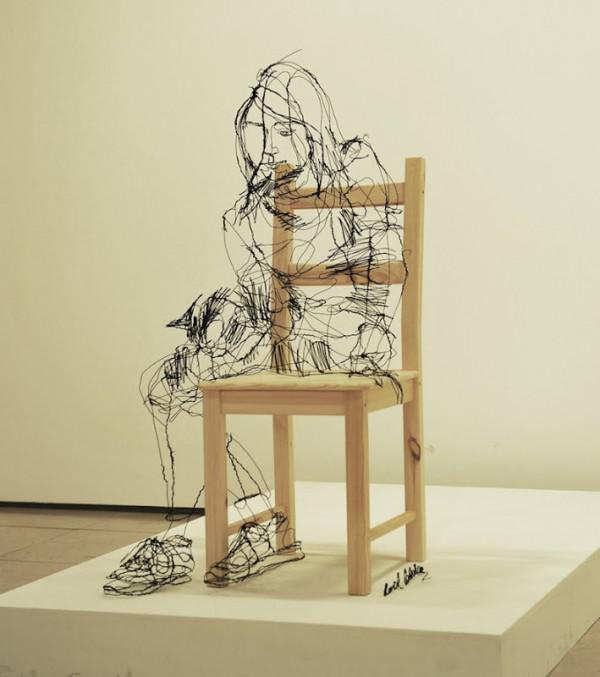 Draht Skulpturen, das sieht aus wie Skizzen von David Oliveira