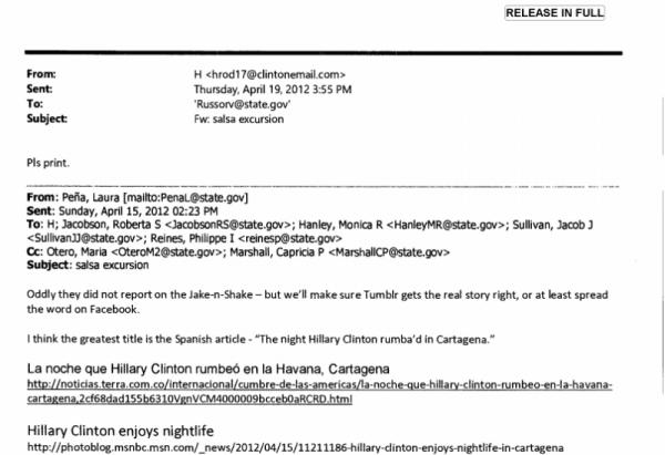 Ein Hillary Clinton Salsatanzen e-Mail-Rätsel in zwei Teilen
