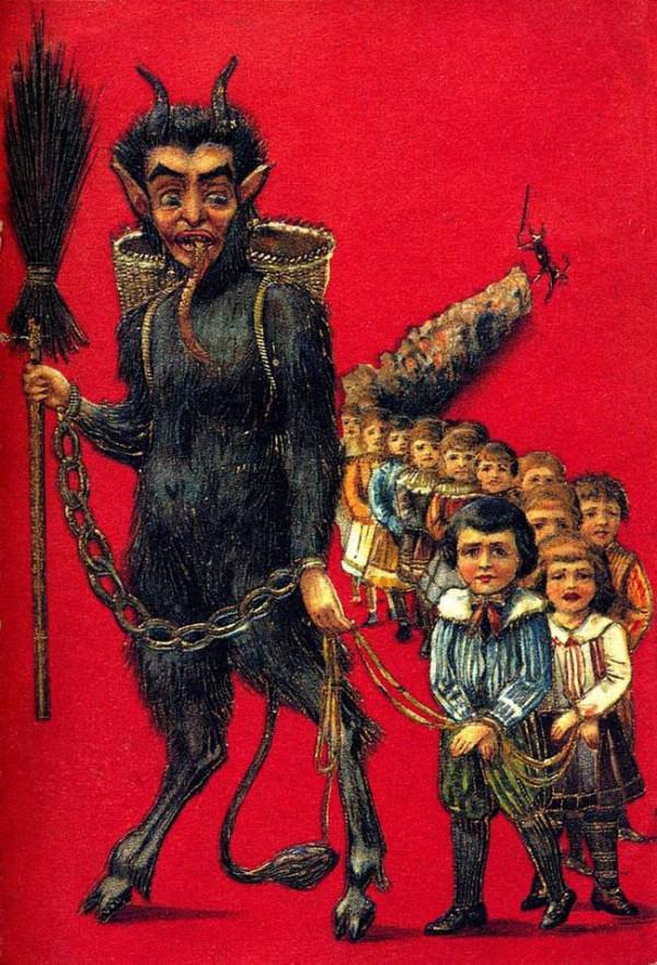 der legende nach ist krampus ein damon abgesturzten kinder rund um den urlaub wahrend st nikolaus aka santa claus bestraft die braven kinder belohnt