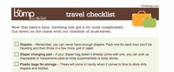 Druckversion Baby Reise-Checkliste